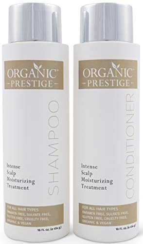Luxury Shampoo & Conditioner Set - Natural & Organic With Coconut Oil & Aloe Vera - Volumizing Treatment for Hair Loss & Split Ends - Sulfate Free Shampoo & Conditioner for Color Treated Hair (16 oz)