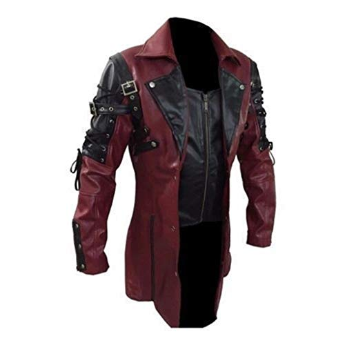 OMINA Mens Gothic Steampunk Jacket Red, Casual Winter Retro Biker Motorcycle Jacket Leather Black 3XL (Mens Gothic Biker Clothes)