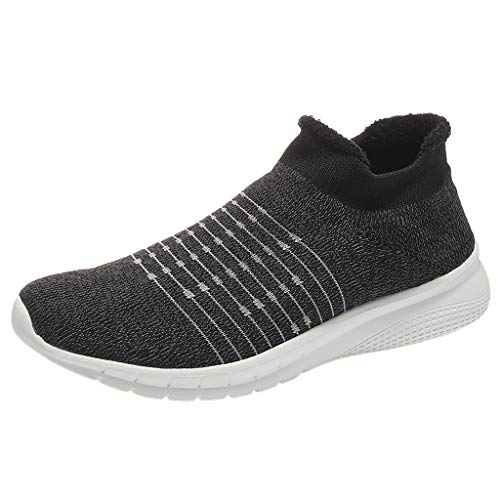 Mens Casual Running Shoes,Male Outdoor Casual Mesh Plus Velvet Sneakers Slip-on Comfortable Soles Sports Footwear