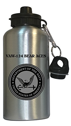 (VAW-124 Bear Aces - US Navy Water Bottle Silver, 1030)