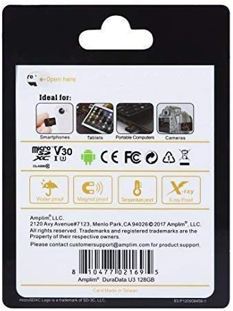 Amplim 128GB Micro SD SDXC V30 A1 Memory Card Plus Adapter Pack (Class 10 U3 UHS-I Pro MicroSD XC) 128 GB Ultra High Speed 667X 100MB/s UHS-1 TF ...