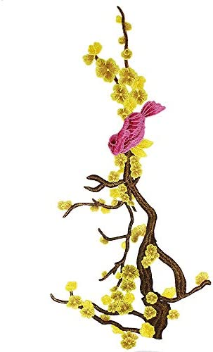 EMDOMO 1piece Embroidery Plum Flower Birds Applique Patches Sew on Patches for Clothing Dress Decorated Lace Fabric Apparel Accessories T2656 (Yellow)