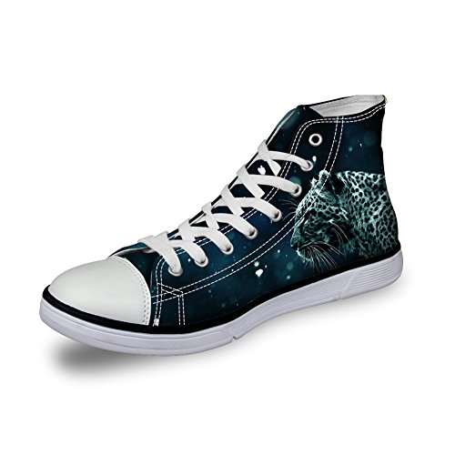 table Leopard Print High Top Canvas Shoes Trainers Sneakers For Mens Size 44 (Leopard Print High Top)