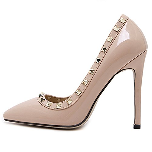 Pumps Toe Slip D2C Sandal Apricot Studded Heel Rivet Pointed Dress On Beauty High Womens wx76R