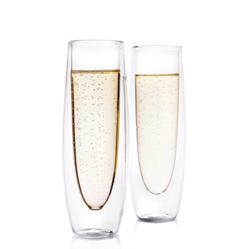 Eparé Champagne Flutes, Insulated Stemless Glass Set (5 oz, 150 ml) – Flute Glass for Brunch Wine & Wedding Cocktails – Reusable Party Cups - 2 Glasses (Flute Glass)