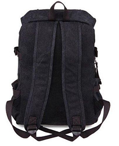 FEOYA Retro Mujer Mochila de Lona Moda Casual Bolso de Ocio Estilo Pijo para Escuela Universidad Viaje Canvas Backpack - Marrón Negro