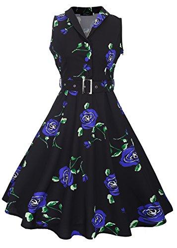 té con de Rosa cinturón desmontable cuello azul Womens Negro sin rockabilly vestido vintage V en con 50s mangas AwPgnqHR
