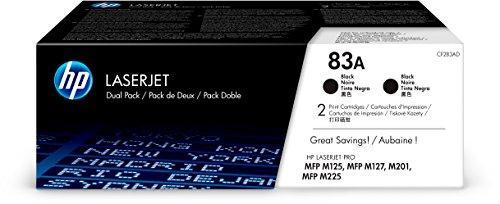 HP 83A (CF283A) Black Toner Cartridge, 2 Toner Cartridges (CF283AD) (Hp 83a Toner)