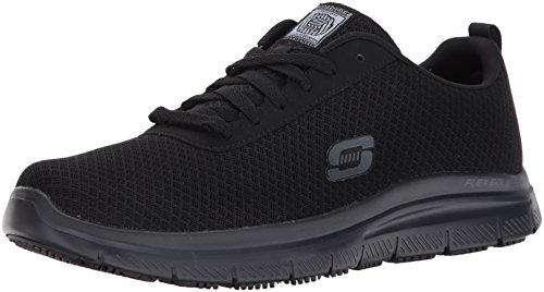 Skechers for Work Men's Flex Advantage Bendon Work Shoe, Black, 12 D(M) US (The Best Work Shoes For Restaurants)