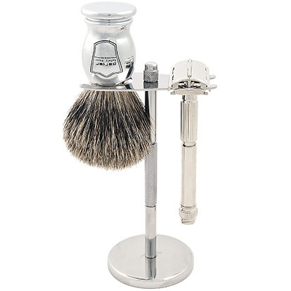 Parker 60R Safety Razor Shave Set - Includes Pure Badger Brush, Stand & Parker 60R Butterfly Open Safety Razor