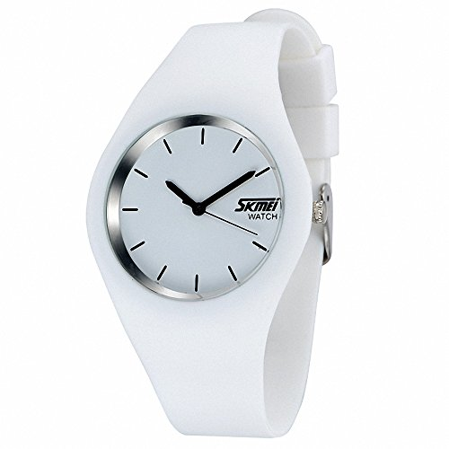 SKMEI Unisex Women Student Fashion Quartz Wrist Watch Rubber Strap Round Dial Waterproof Analog + BOX