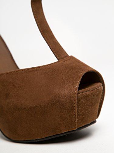 Brina-01 Stevige Hoge Hak T-strap Platform Peep Toe Sandaal