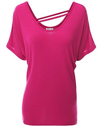 Doublju Women Short Sleeve Strap Neckline Loose Fit Knit Top Fuchsia 2XL