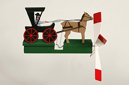 Amish Buggy Garden - CHSGJY Handcrafted Antique Garden Amish Horse and Buggy Whirligig - Handmade Handpainted Wood Wind Spinner Outdoor Art Yard Stake Hand Home Living Decor