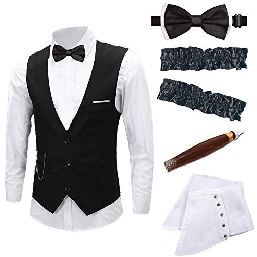 Mens 1920s Accessories Gangster Vest Set - Gangster Spats,Armbands,Pre Tied Bow Tie,Toy Fake Cigar,Black,M2