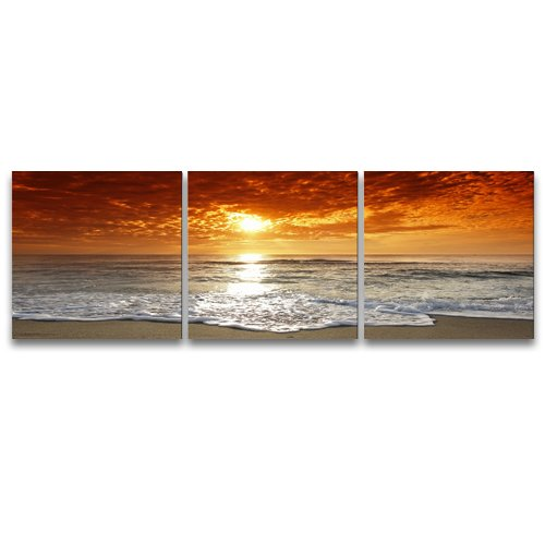Pyradecor 3 Piece Giclee Canvas Prints Wall Art Grand Sight Sea Beach Landscape Pictures Paintings for Office Living Room Bedroom Home Decorations Modern Stretched and Framed Romance Seascape Artwork - Sight Framed