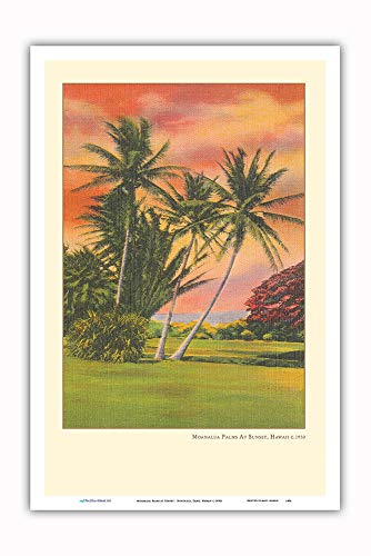 Pacifica Island Art - Moanalua Palms at Sunset - Honolulu, Oahu, Hawaii - Vintage Hawaiian Travel Poster c.1930s - Master Art Print - 12 x 18in