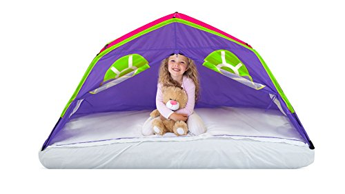 GigaTent Kids Purple Double Kids Sleep Tent - Use On Top or Off Bed - Easy Setup, 6 Mesh Windows, Fiberglass Poles, Removable Washable Sheet, Folds Flat - Indoors and Outdoors