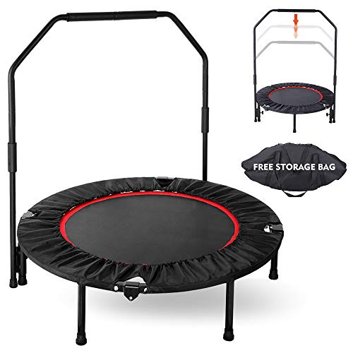 GARTIO 40″ Exercise Trampoline, Portable & Foldable Mini Rebounder with Adjustable Handrail and Safety Pad, Indoor Outdoor Fun Fitness Training Workouts for Kids Adults, Max Load 330lbs