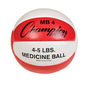 Champion Sports Leather Medicine Ball (Red/White, 4-5 lbs)