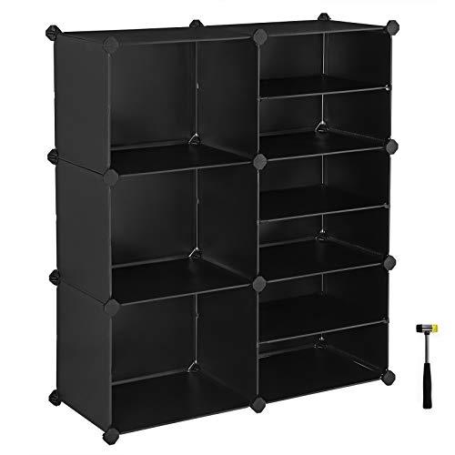 SONGMICS Cube Storage Organizer, Interlocking Plastic Cubes with Divider Design, Modular Cabinet, Bookcase for Closet Bedroom Kid's Room, 34.3 L x 12.6 W x 37.8 H Inches, Black ULPC36H (Organizer Closet Bedroom)