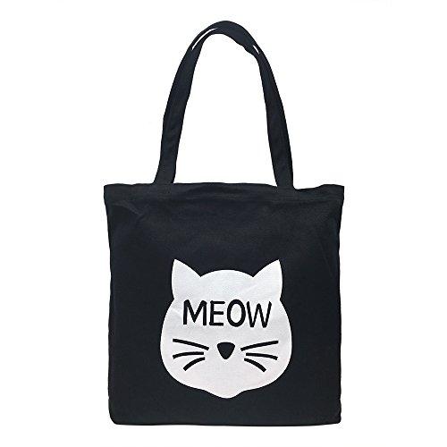 Cotton Canvas Shoulder Tote Bag Handbag Casual Travel Beach Bag Heavy Duty Grocery Shopping Bag (Black Cute Cat, No Closure) by Mziart
