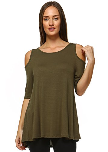 Amie Finery Cold Shoulder Tops For Women Open Shoulder Tunic Tops For Leggings Made In USA Plus Size 2X Olive Green