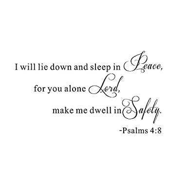 I Will Lie Down and Sleep In Peace For You Alone Lord Make Me Dwell In Safety Christian Verse Scripture Religious Bible Quote Wall Sticker Decals Transfer Words Lettering (Size1: 23.2  x 12.9 )