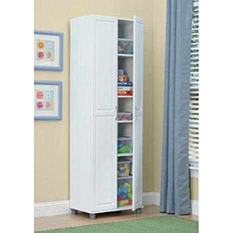 White 24 Inch 2 Door Storage Cabinet Kitchen Pantry Laundry Room Cupboard  Armoire