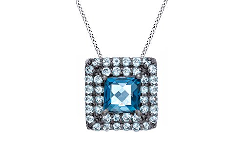 Simulated London Blue Topaz & Simulated Swiss Blue Topaz Frame Pendant Necklace in Sterling Silver -