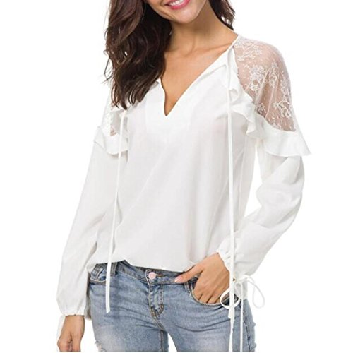 V Neck Lace Tops AfterSo Womens Blouses T-Shirts(White,US:6)