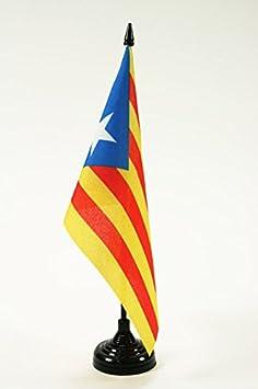 AZ FLAG Bandera de Mesa de CATALUÑA ESTELADA BLAVA 21x14cm - BANDERINA de DESPACHO CATALANA INDEPENDENTISTA – Catalunya 14 x 21 cm