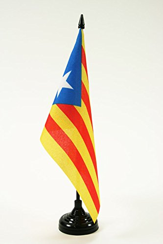 BANDIERA DA TAVOLO CATALOGNA ESTELADA 21x14cm - PICCOLA BANDIERINA CATALANA INDIPENDENTISTA 14 x 21 cm - AZ FLAG