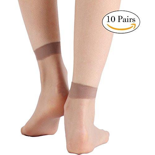 Womens+Socks+And+Hosiery%2C+INCHER+Women%27s+Ankle+High+Socks+Nylon+Socks+Tight+Dress+Women+10+Pair+Pack+Dark+Skin