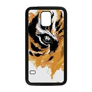 Caja del teléfono Samsung Galaxy S5 Funda Negro Eye Of The Tiger N4X6ZJ Volver 3D Phone Case Funda
