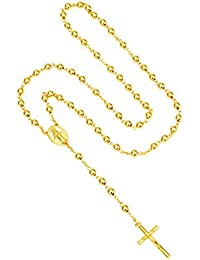 Gold catholic cross pendant 18k gold plated Trendy long rosary necklace