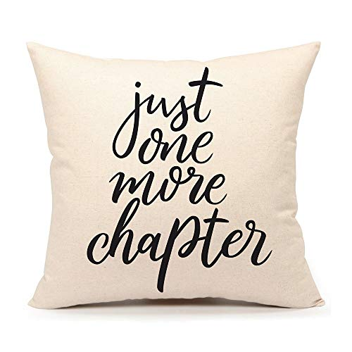 (4TH Emotion Just One More Chapter Throw Pillow Case Cushion Cover Book Lovers Cotton Linen 18 x 18 Inch)