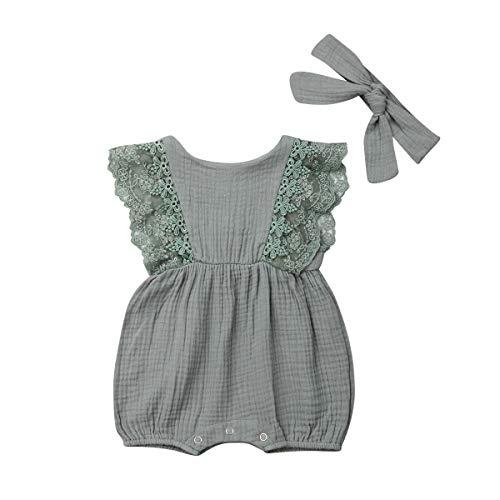 Bowanadacles Newborn Baby Girl Romper Jumpsuit Cotton Linen Sleeveless Ruffled Bodysuit Infant Summer Clothes Outfits (Light Green 2, 80(6-12M)) -