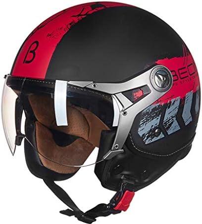 ZJJ ヘルメット- セミカバーヘルメット、ユニセックスヘルメット、雨および紫外線保護用ヘルメット、ライトシルバーメッキショートレンズ (色 : 赤, サイズ さいず : XL)