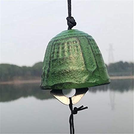 Metal Hanging Wind Chime Cast Iron Bells Decor Ornament Japanese Style green