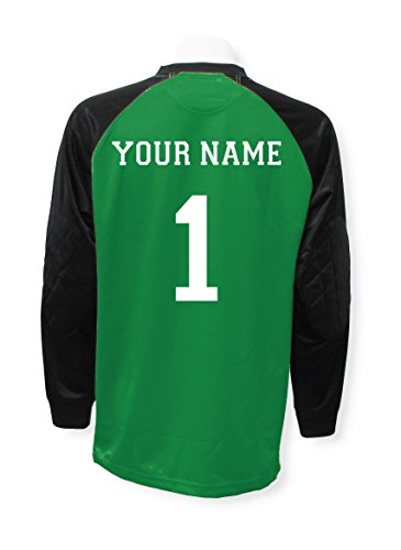 Jersey Graphic Goalkeeping (Soccer goalkeeper jersey personalized with your name and number - Kelly - size Adult Small)