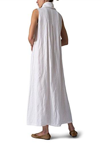 f9d2af20cfb Vivid Linen Sleeveless Cowl Neck Long Dress - Import It All
