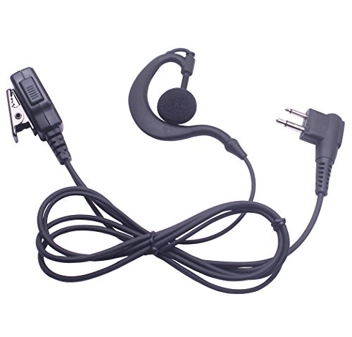Bingle Swivel G Shape Clip-Ear Headset Earpiece Mic with PTT&Microphone for Motorola 2 Pin Walkie Talkies Two Way Radio PRO, RDX, CP, AX, (Ax Series Radios)
