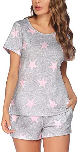 Ekouaer Womens Pajama Set Long Sleeve Sleepwear Star Print Cotton Nightwear Soft Pjs Lounge Sets with Pockets