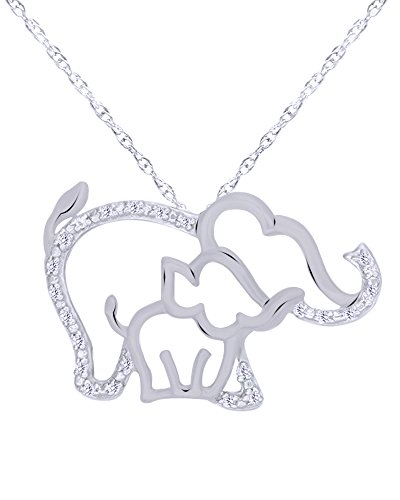 Round Cut Natural Diamond Accent Elephant and Calf Pendant Necklace in 14K Gold Over Sterling Silver (Clover Accent Diamond Pendant)