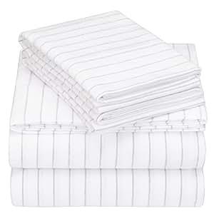 Pinzon 160 Gram Pinstripe Flannel Sheet Set - Queen, White Pinstripe