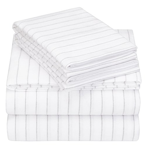 Pinzon 160 Gram Pinstripe Flannel Cotton Bed Sheet Set, Queen, White Pinstripe