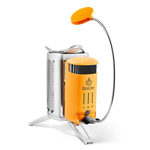 BioLite CampStove 2- Wood-Burning Small Lightweight Stove, USB FlexLight, Fire Starter, Generates 3W of Electricity for USB Charging Using Excess Heat, 5 x 5 x 8.3 Inches, Silver/Yellow (CSC1001) by BioLite (Image #2)