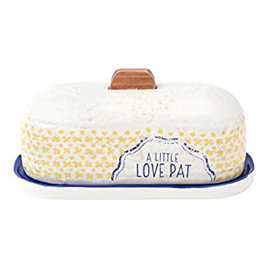 Hallmark Home Clever Kitchen Everyday Collection, Stoneware  Love Pat  Butter Dish