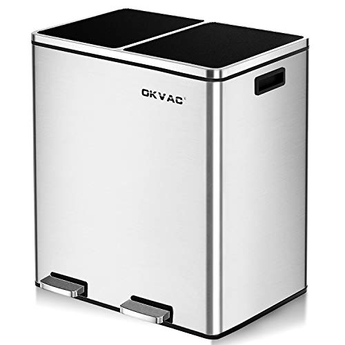 OKVAC Dual Trash Garbage Can & Double Recycle for Kitchen,Trash bin, 16 Gal (8 Gal Each Bucket) Recycle Bin, Soft & Silent Lid Close, Metal Step Bin, with Dual Compartments